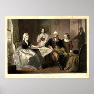 Washington y su Mezzotint de la familia de C. Póster
