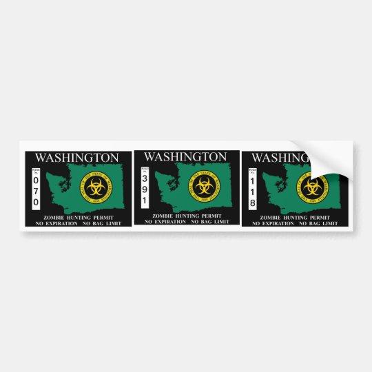Washington Zombie Hunting Permit Bumper Sticker