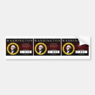 Washington Zombie Hunting Permit V.2 Car Bumper Sticker