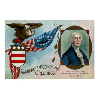 Washington's Birthday Greetings Poster