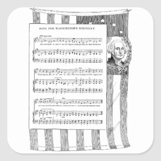 Washington's Birthday Song with US Flag Square Sticker