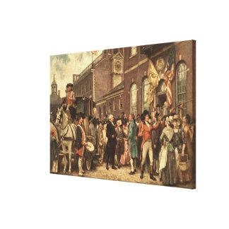 Washington's Inauguration at Philadelphia Stretched Canvas Print