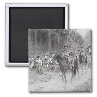 Washington's Retreat from Great Meadows 2 Inch Square Magnet