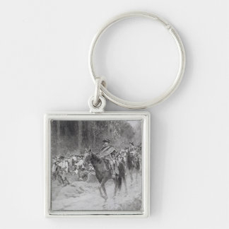Washington's Retreat from Great Meadows Silver-Colored Square Keychain