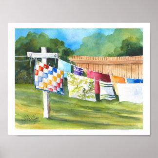 Washline Backyard Poster