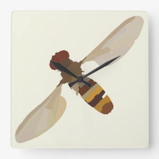 wasp bee insect nature science animal cute yellow square wall clock