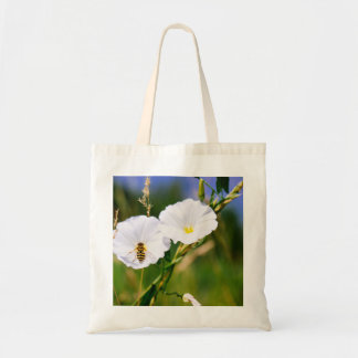 Wasp On A White Flower, Nature Photograph Budget Tote Bag