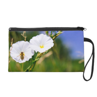 Wasp On A White Flower, Nature Photograph Wristlet