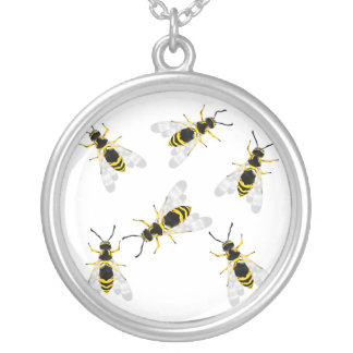 wasp round pendant necklace