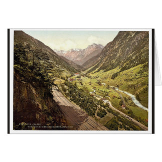 Wassen, vista de las tres pistas, St. Gotthard Rai Tarjetón