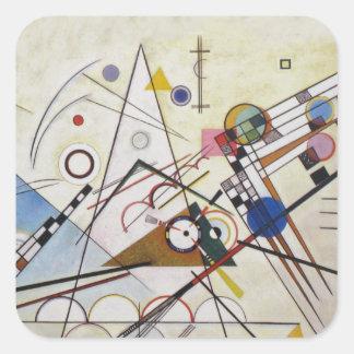 Wassily Kandinsky - composición 8 - arte funcional Pegatina Cuadrada