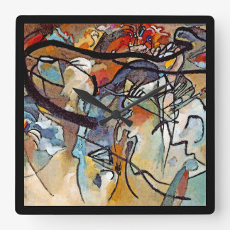 Wassily Kandinsky - Composition Five Abstract Art Square Wall Clock