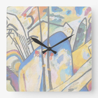 Wassily Kandinsky Composition Four - Abstract Art Square Wall Clock