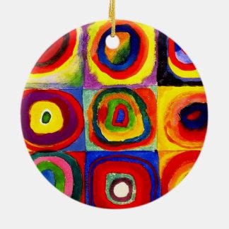 Wassily Kandinsky Farbstudie Quadrate colorido Adorno Navideño Redondo De Cerámica