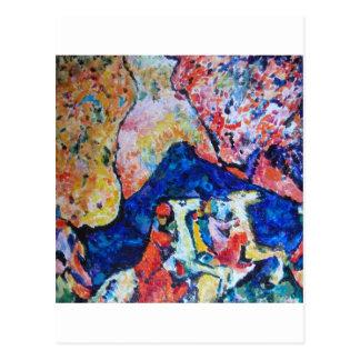 Wassily Kandinsky horse rider blue mountains Postcard