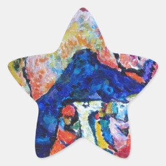 Wassily Kandinsky horse rider blue mountains Star Sticker