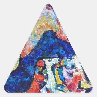 Wassily Kandinsky horse rider blue mountains Triangle Sticker