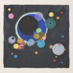"""Wassily Kandinsky, Several Circles Scarf<br><div class=""""desc"""">Scarf with the Wassily Kandinsky art painting called """"Several Circles"""". """"Several Circles"""" painting is a painting with blue,  green,  yellow,  pink,  and lavender circles on a black background. Customizable.</div>"""