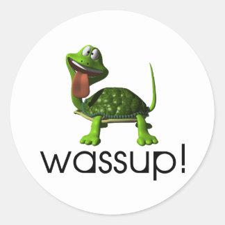 Wassup Turtle Classic Round Sticker