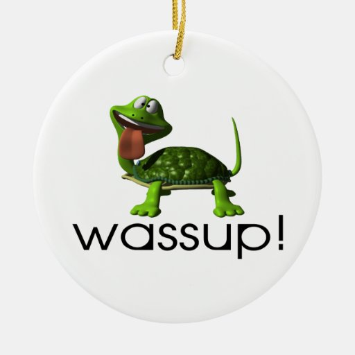 Wassup Turtle Double-Sided Ceramic Round Christmas Ornament