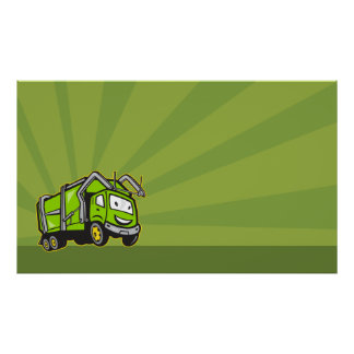 Waste Collection Garbage Rubbish Truck Cartoon Poster