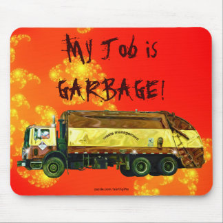 WASTE DISPOSAL GARBAGE TRUCK Funny Art Mousepad