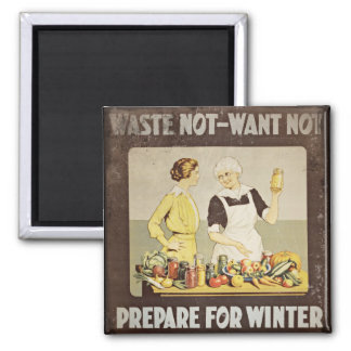 Waste Not Want Not - Mother and Daughter Canning 2 Inch Square Magnet