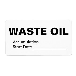 Waste Oil Shipping Label