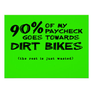Wasted Money Dirt Bikes Motocross Poster