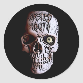 WASTED YOUTH SKULL LOGO ROUND STICKERS