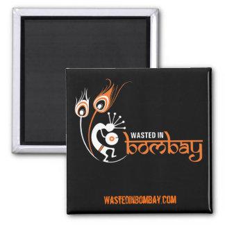 WastedInBombay.com Square Magnet Orange
