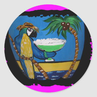 Wastin Away Parrots Classic Round Sticker