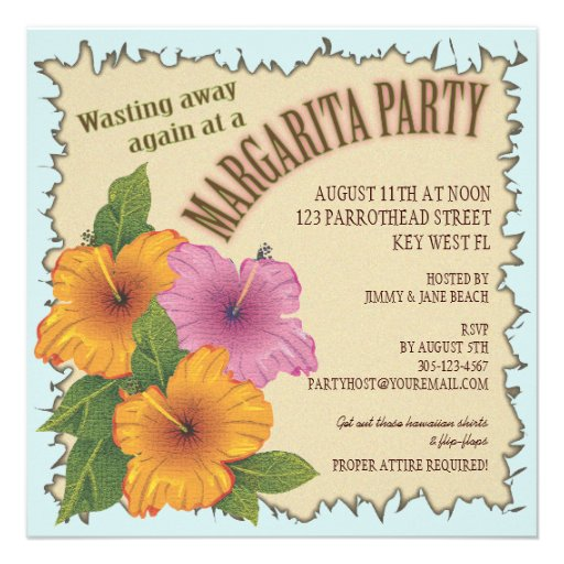 Wasting away a Day at a Margarita Party Invitation