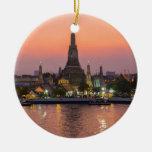 Wat Arun Temple Bangkok Thailand at sunset Ceramic Ornament