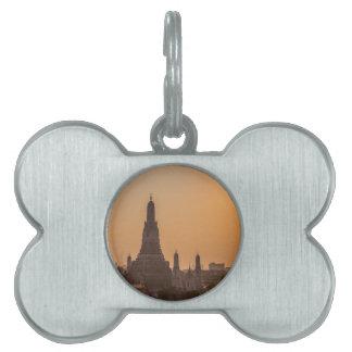 Wat Arun Temple bangkok Thailand at sunset Pet Name Tag