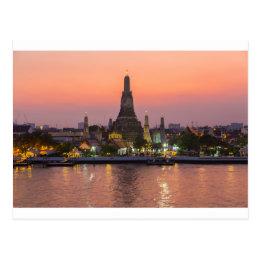 Wat Arun Temple Bangkok Thailand at sunset Postcard