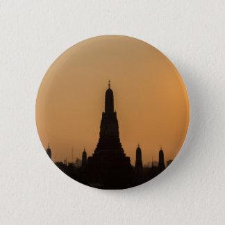 Wat Arun temple Silhouette Thailand Bangkok at sun Button