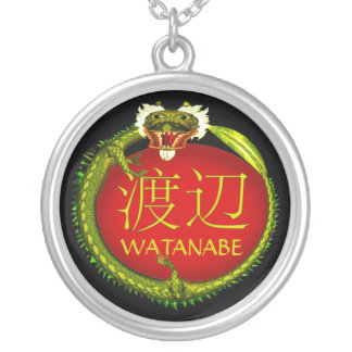 Watanabe Monogram Dragon Silver Plated Necklace