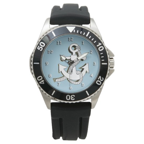 Watch - Anchor in White with Shadow