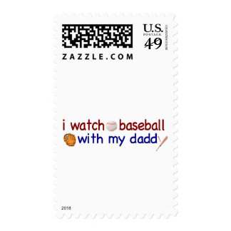 Watch Baseball with Daddy Postage Stamps