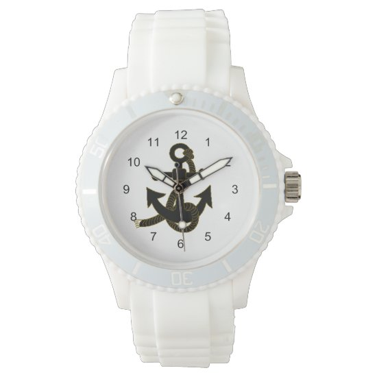 Watch - Black Anchor on  White