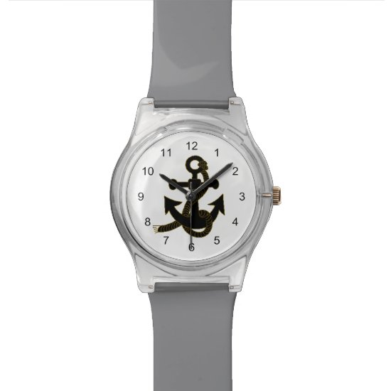Watch – Black Anchor on White