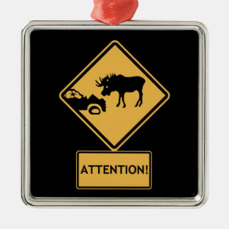 watch for moose metal ornament