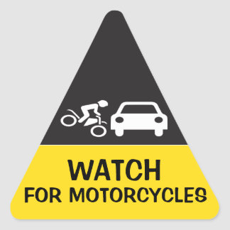 WATCH FOR MOTORCYCLES TRIANGLE STICKER