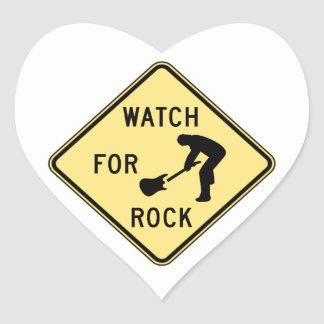 WATCH FOR ROCK- rock and roll/music/indie/metal Heart Sticker