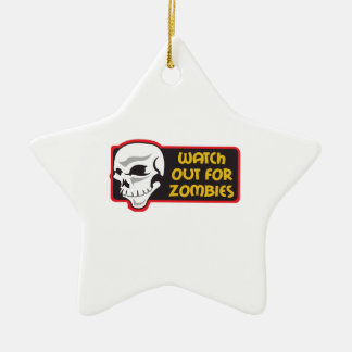 WATCH FOR ZOMBIES CHRISTMAS TREE ORNAMENT
