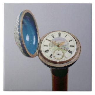 Watch gadget cane (cloisonne enamel) ceramic tile