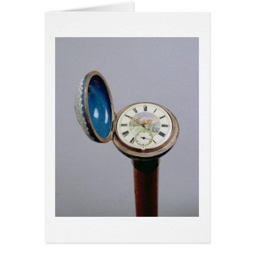 Watch gadget cane (cloisonne enamel) greeting card