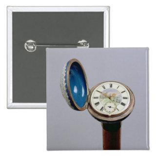 Watch gadget cane (cloisonne enamel) pinback button