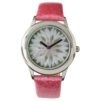 Watch - Glitter - White/Pink Bachelor's Button